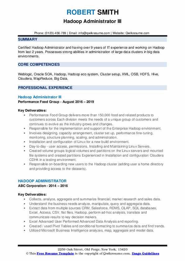 Hadoop Administrator III Resume Example