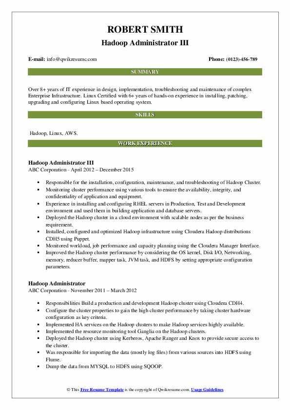 Hadoop Administrator III Resume Sample