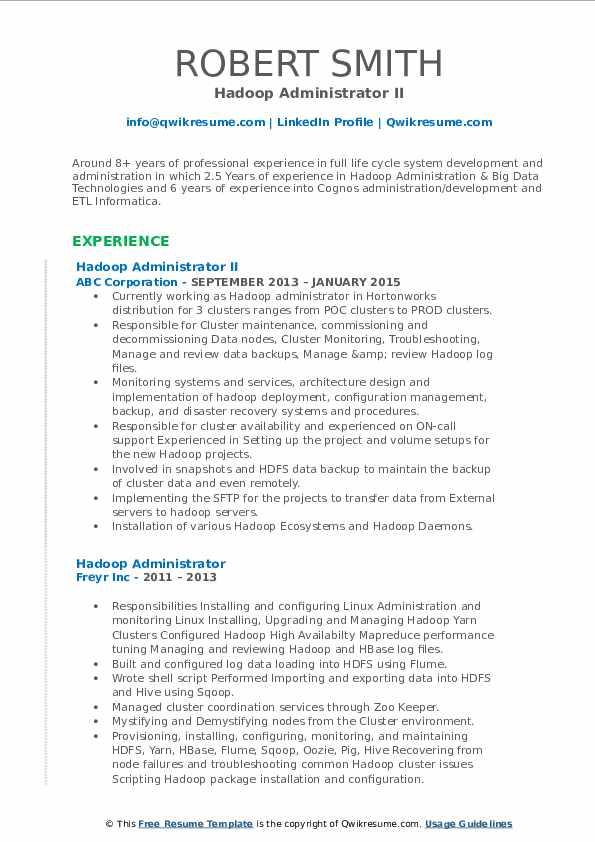 Hadoop Administrator II Resume Format