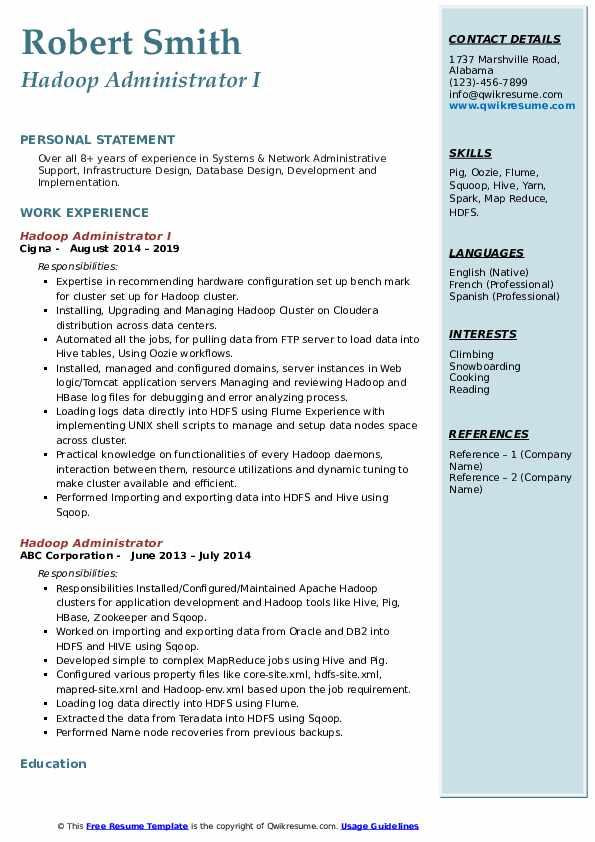 Hadoop Administrator I Resume Template