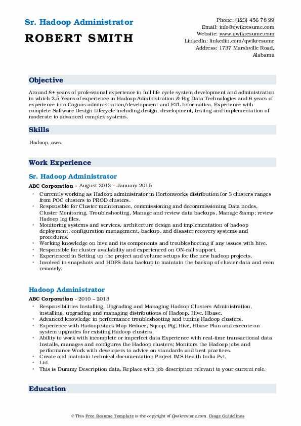 Sr. Hadoop Administrator Resume Template