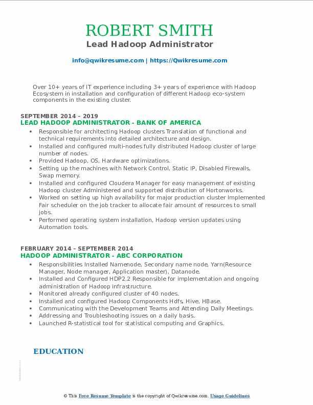 Lead Hadoop Administrator Resume Model