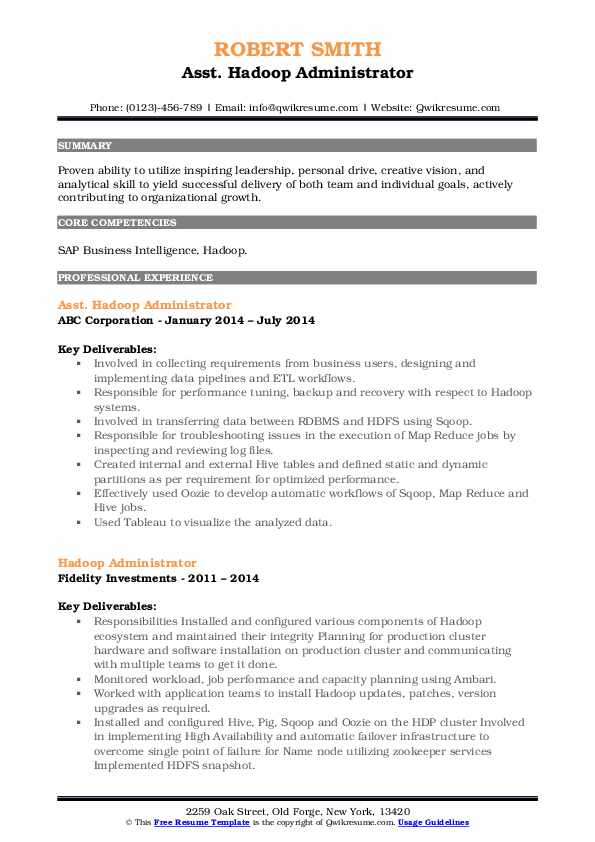 Asst. Hadoop Administrator Resume Template