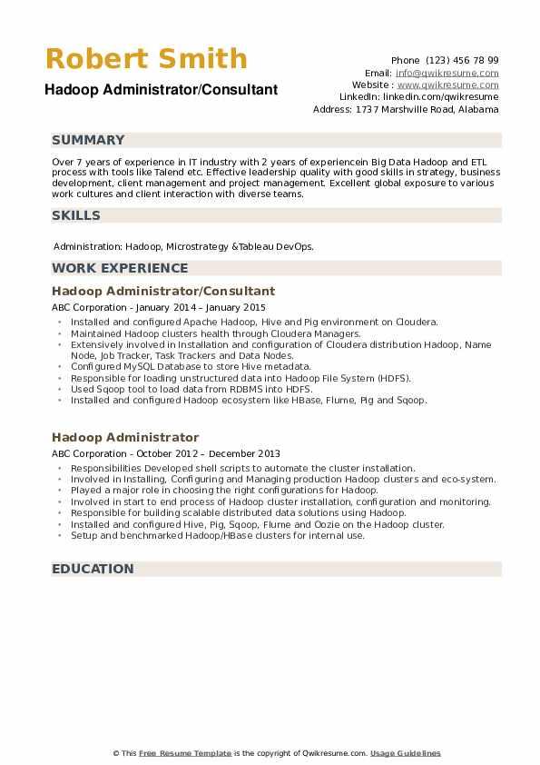 Hadoop Administrator/Consultant Resume Template