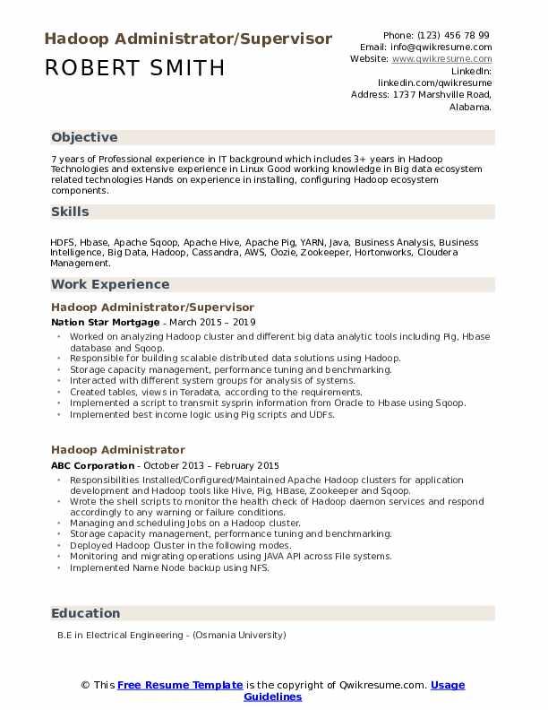 Hadoop Administrator/Supervisor Resume Format
