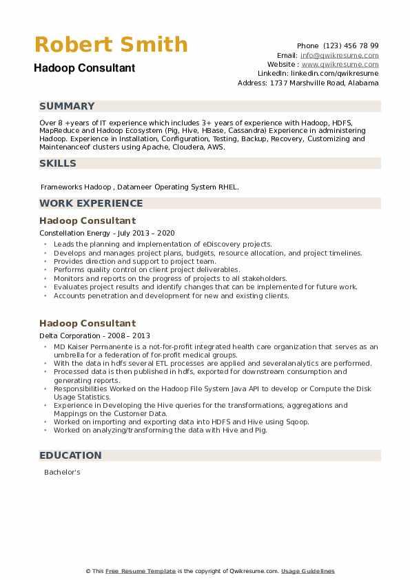 Hadoop Consultant Resume example