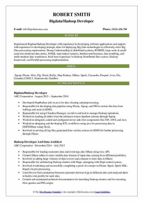 hadoop developer resume samples