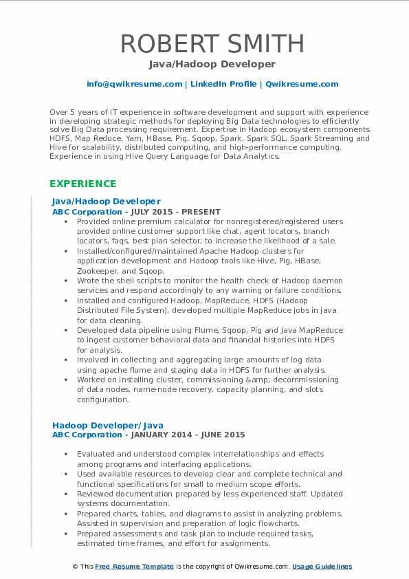 Java/Hadoop Developer Resume Example
