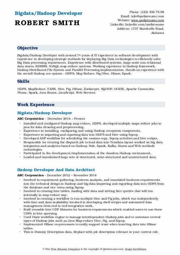 Bigdata/Hadoop Developer Resume Sample