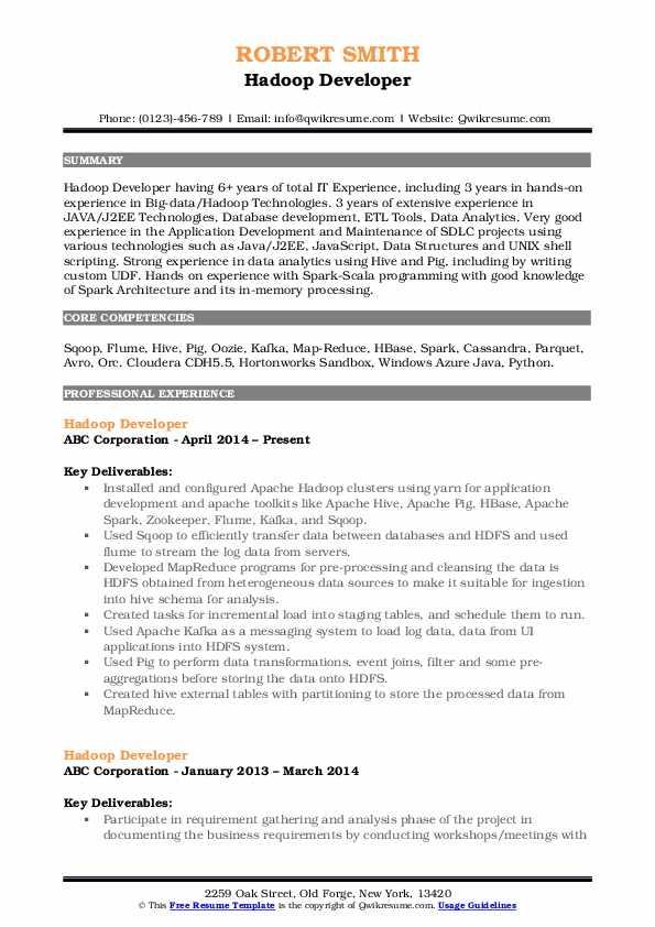 Hadoop Developer Resume Template