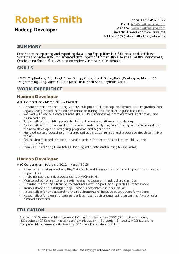 Hadoop Developer Resume example