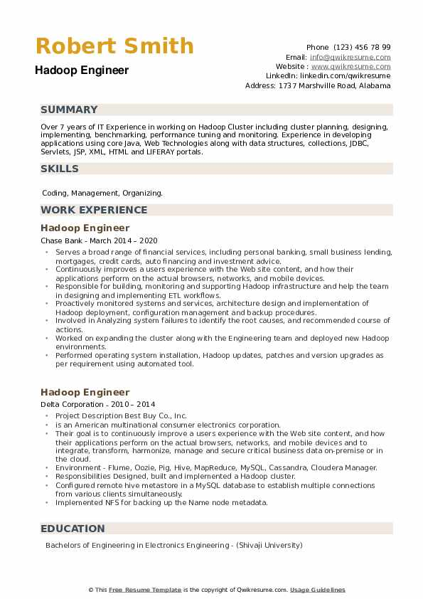 Hadoop Engineer Resume example