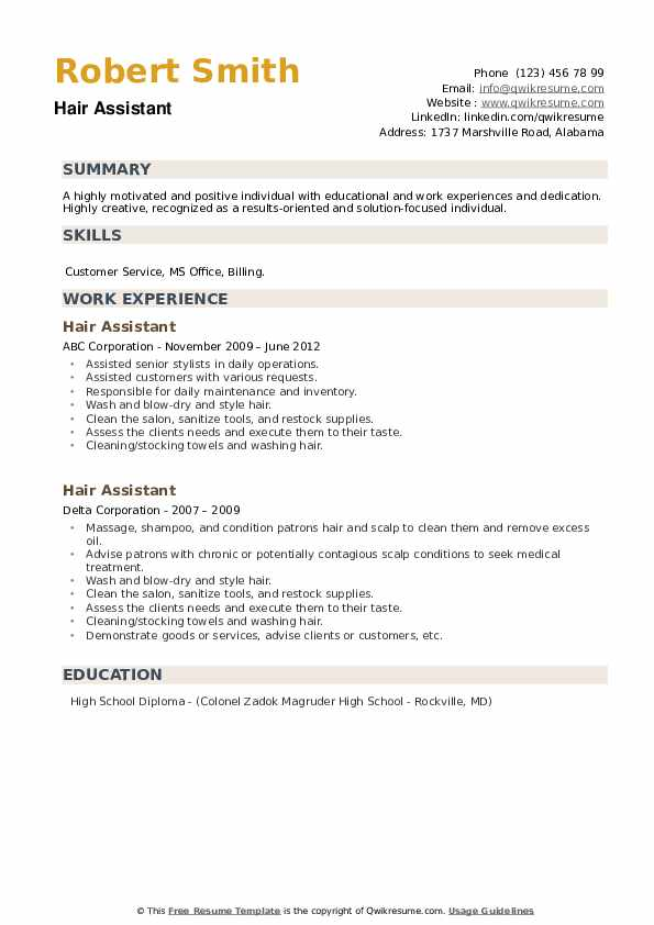 Hair Assistant Resume example