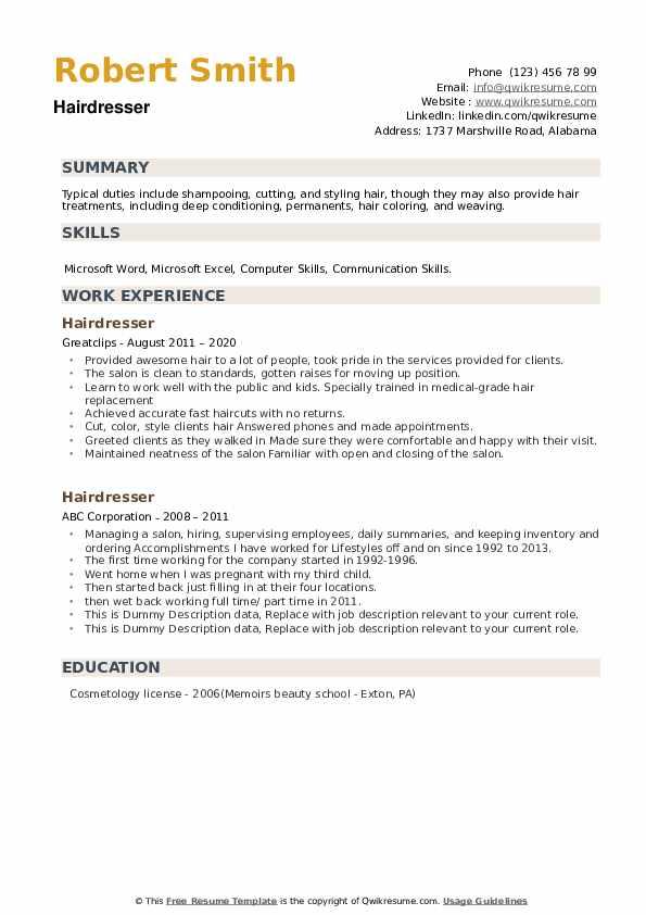 Hairdresser Resume example