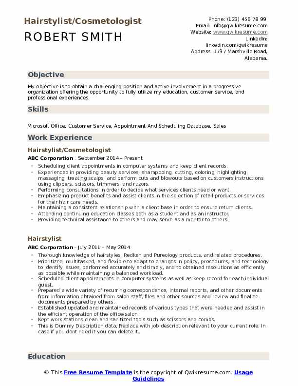 Hairstylist Resume Samples