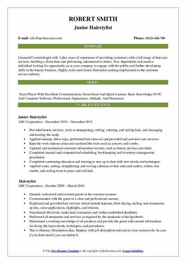 Junior Hairstylist Resume Format