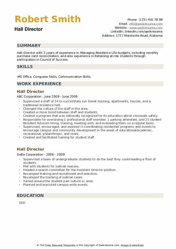 Hall Director Resume example