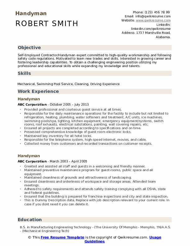 Handyman Resume Samples