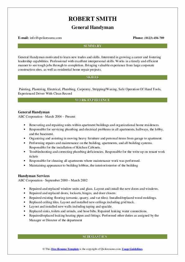 General Handyman Resume Model