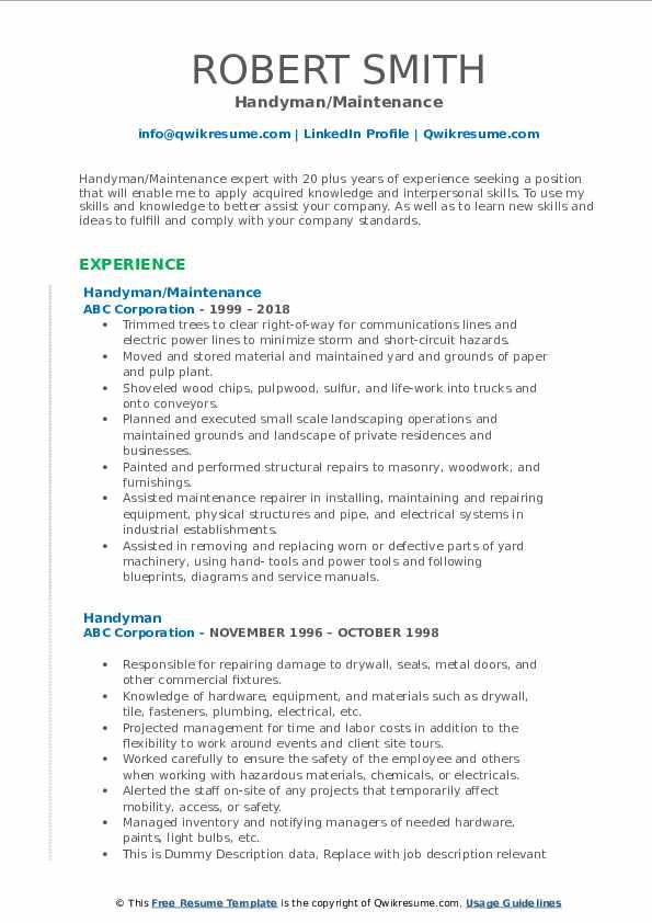 Handyman Resume Samples | QwikResume