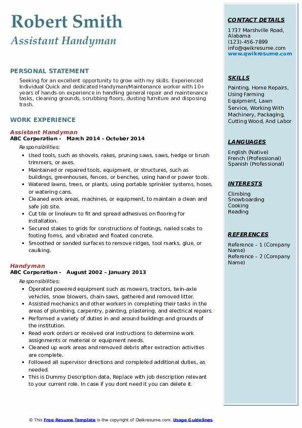 Handyman Resume Samples Qwikresume