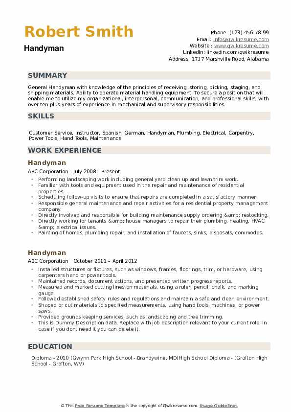 Handyman Resume Samples