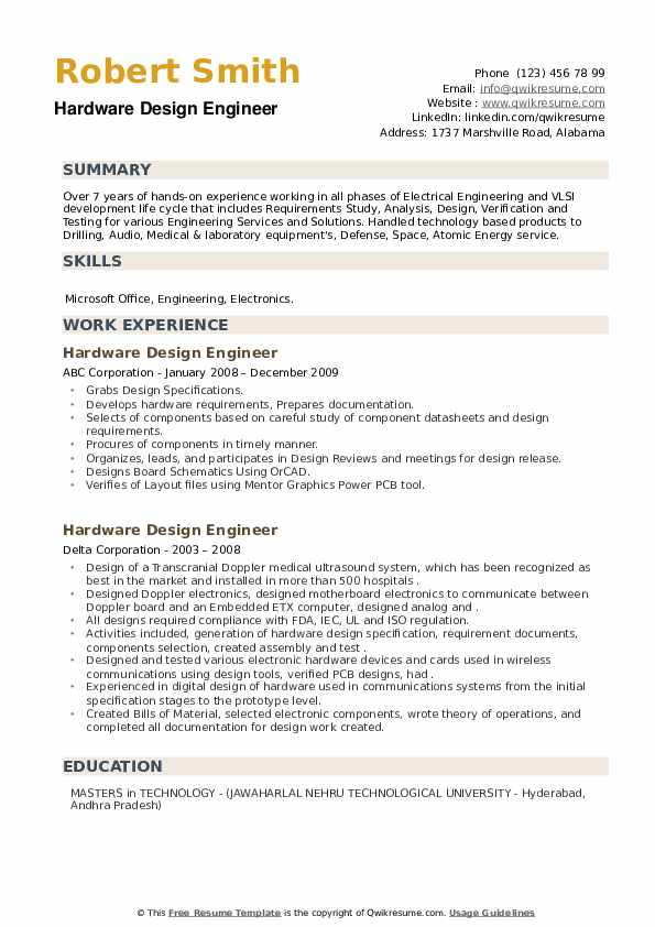Hardware Design Engineer Resume example
