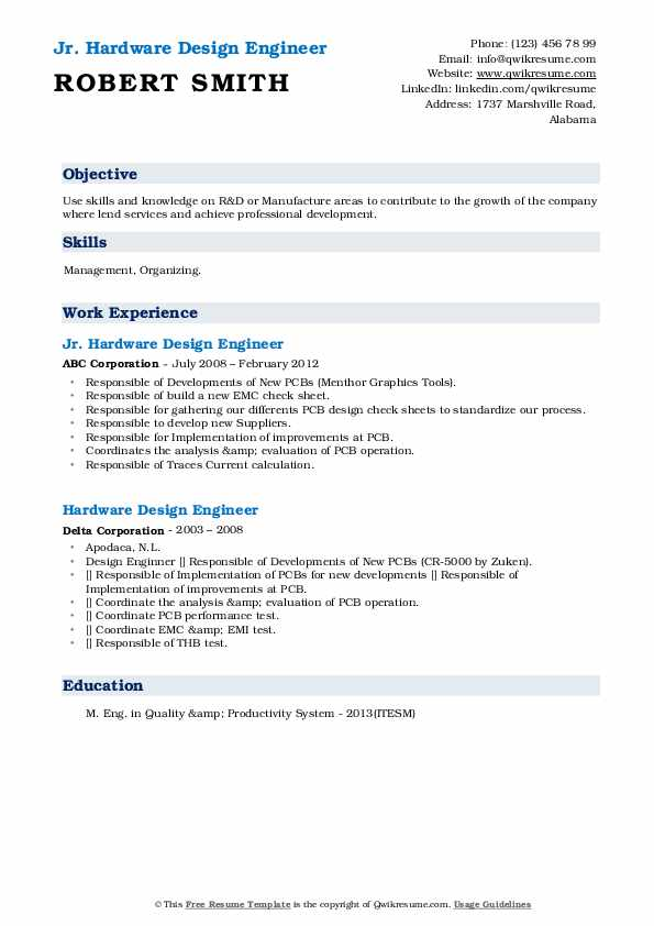Hardware Design Engineer Resume Samples Qwikresume