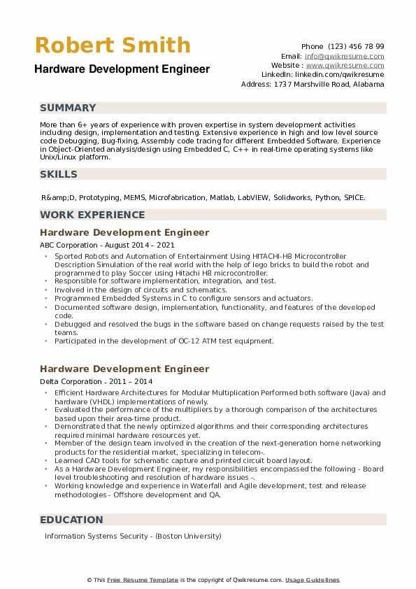Hardware Development Engineer Resume example