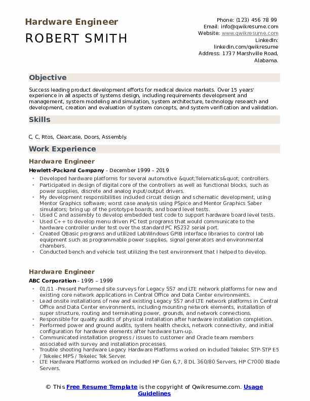Hardware Engineer Resume example