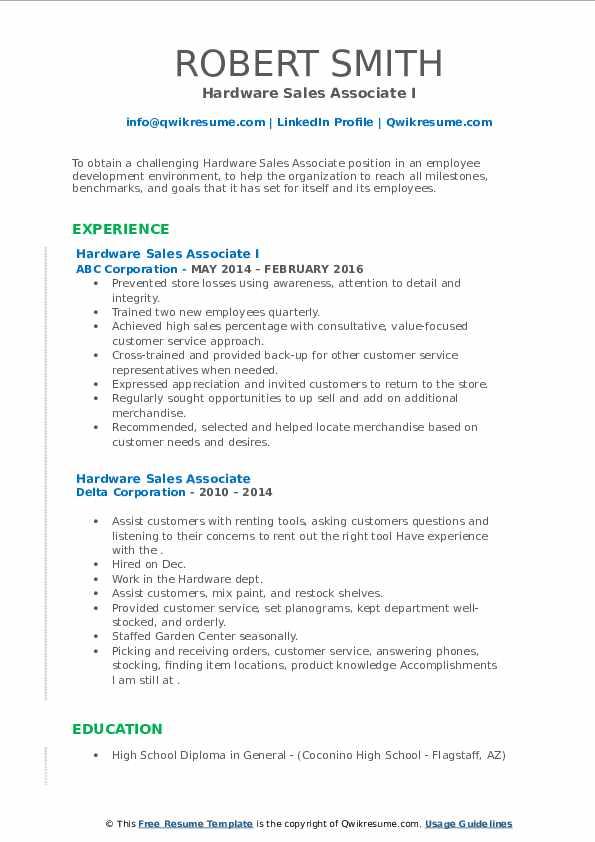 hardware sales associate resume samples  qwikresume