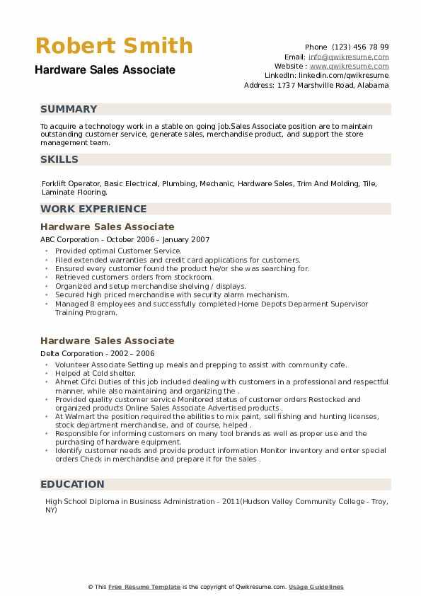 Hardware Sales Associate Resume example