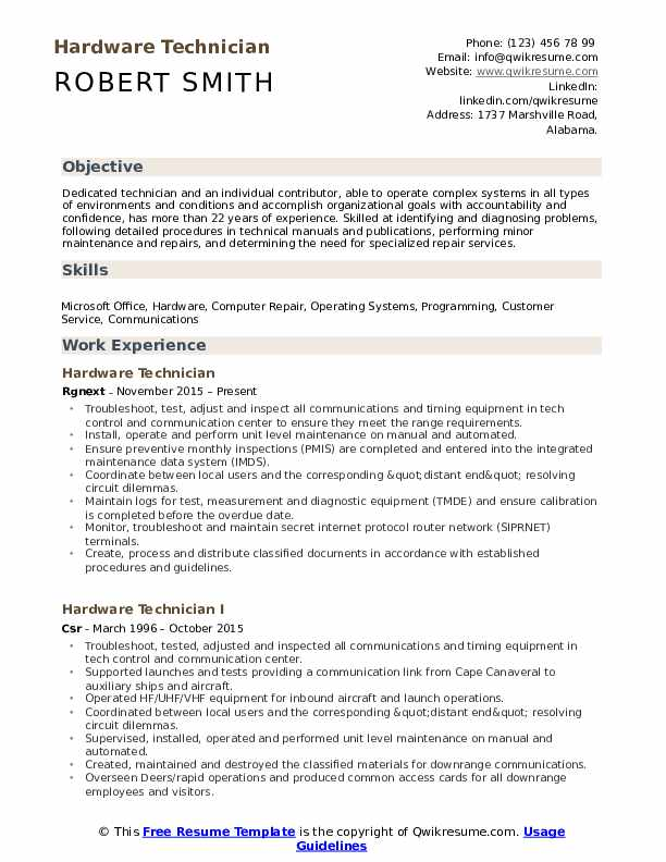 Hardware Technician Resume Format