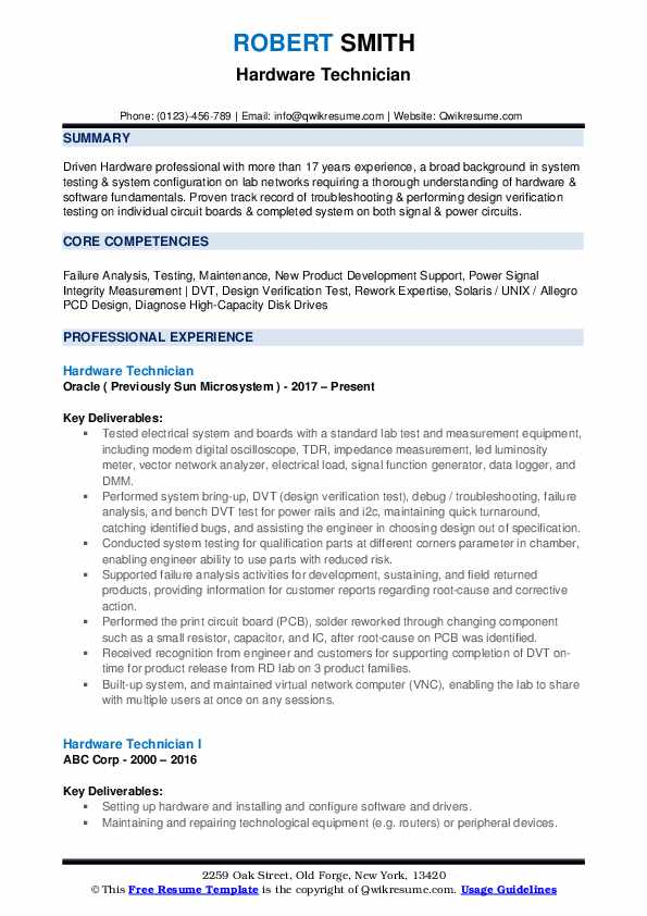 Hardware Technician Resume Template