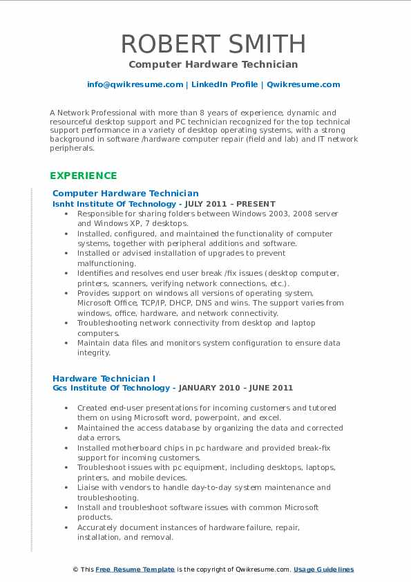 Computer Hardware Technician Resume Model