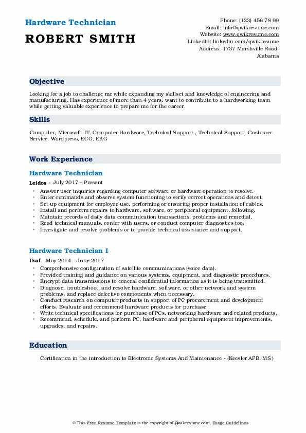 Hardware Technician Resume Model