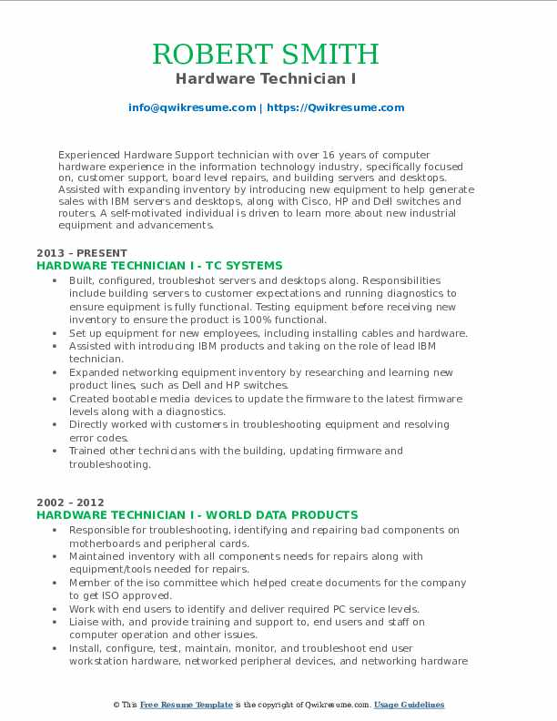 Hardware Technician I Resume Format