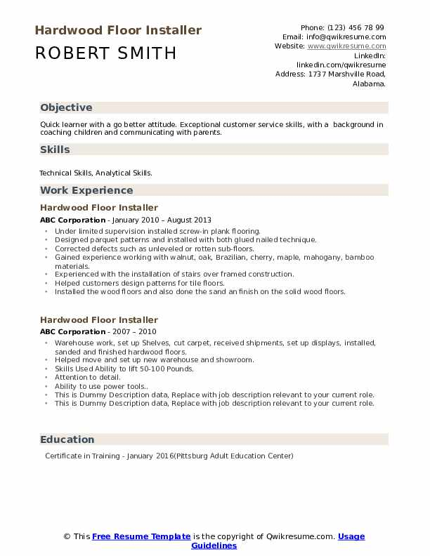 Hardwood Floor Installer Resume example