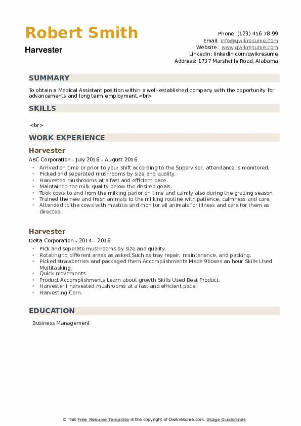 Harvester Resume example