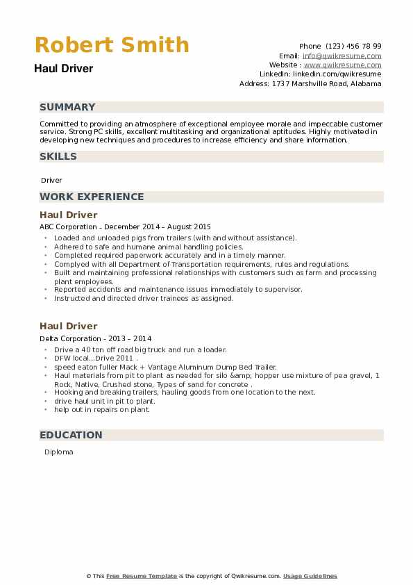 Haul Driver Resume example