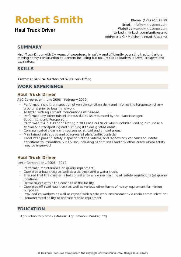 Haul Truck Driver Resume example