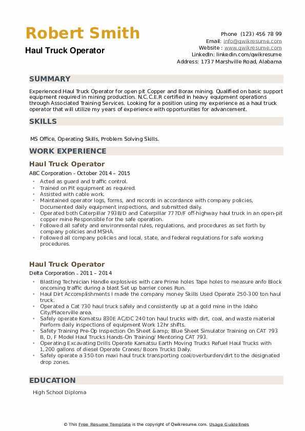 Haul Truck Operator Resume example