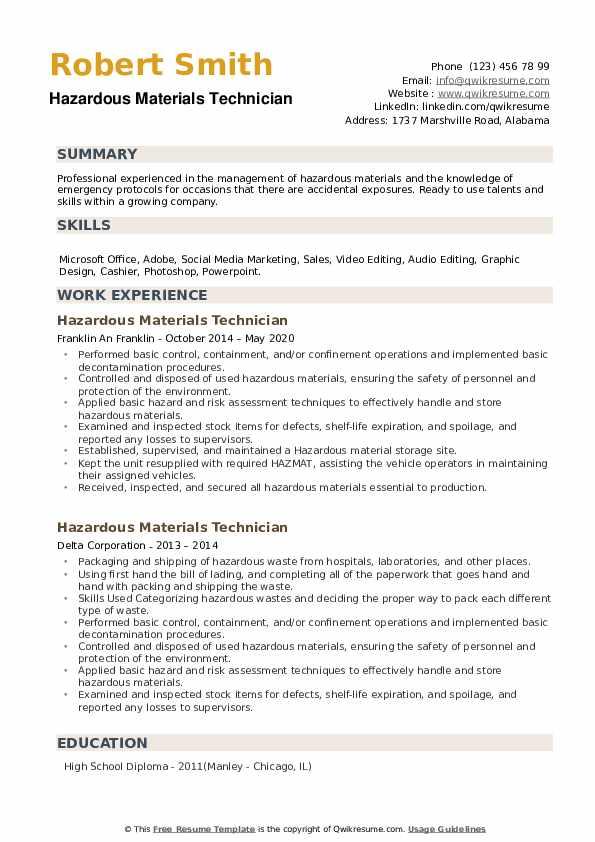 Hazardous Materials Technician Resume example