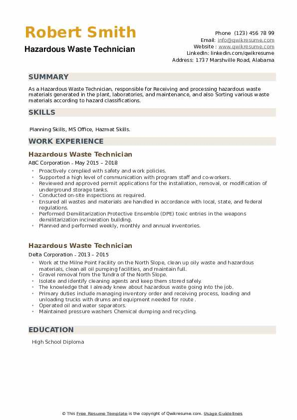 Hazardous Waste Technician Resume example