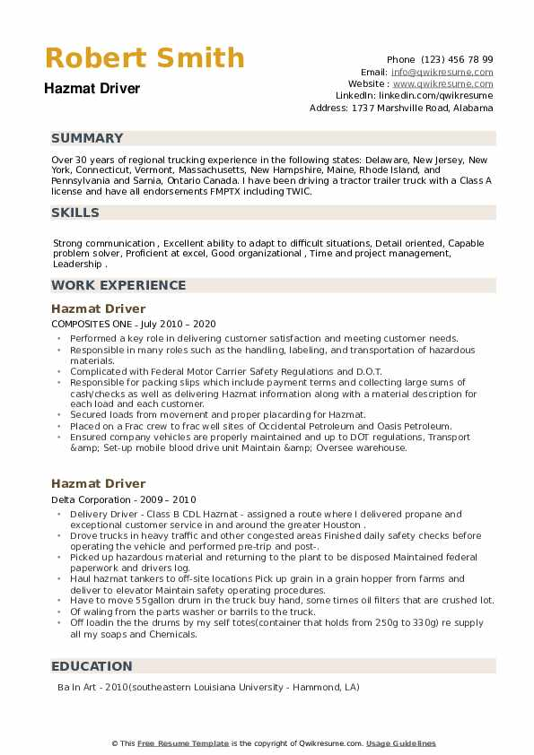 Hazmat Driver Resume example