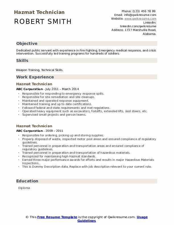 Hazmat Technician Resume example