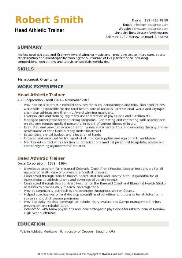 Head Athletic Trainer Resume example
