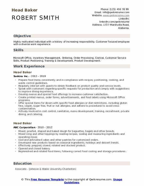 Head Baker Resume Example