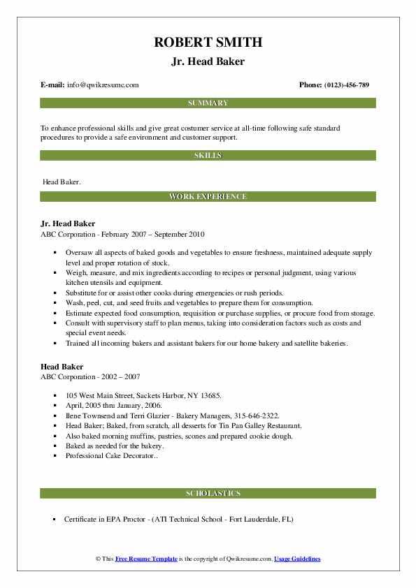 Jr. Head Baker Resume Example