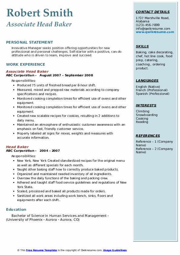 head baker resume samples